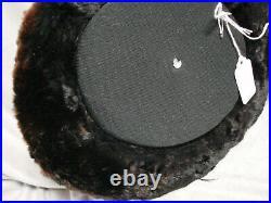 Vintage Edwardian Furry Beaver Hat Brim BLACK Top Hat Tall Antique Percher Fur