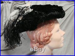 Vintage Edwardian Hat LACE BLACK Antique Bicolor Ostrich Feather PARIS Velvet GC