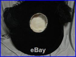 Vintage Edwardian OSTRICH FEATHERS Hat WIDE Brim BLACK Beaver FUR LARGE Antique