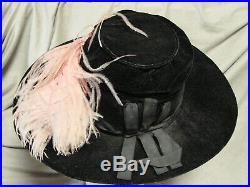Vintage Edwardian Wide Brim Hat VELVET GC BEADED APPLIQUE Ostrich Feather