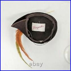 Vintage Elsa Schiaparelli Avant Garde Capulet Hat Sz 22 Brown Felt Feathers Oran