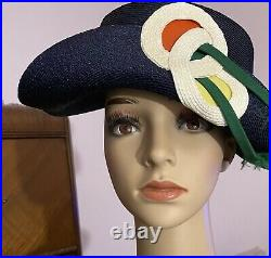 Vintage Elsa Schiaparelli Blue Hat Straw & Grosgrain Boater With Original Box