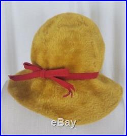 Vintage Emme Boutique LADIES BUCKET Pixie Twiggy Camel Faux Fur Hat Mod Italy