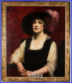 Vintage Fine 19th Century Oil Portrait Painting Lady Woman with Hat Gilt Frame