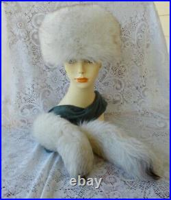 Vintage Fox Fur Hat 23 and Attachable Gray Scarf With Fox Fur Tails M/L Lovely