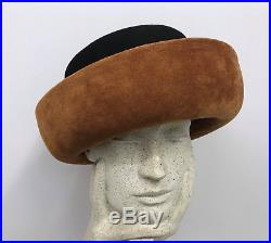 Vintage Frank Olive Hat Nwt $250.00 New Old Stock Black Wool Brown Suede