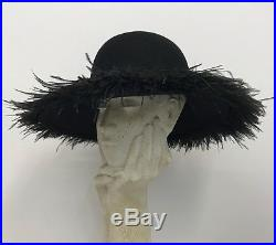 Vintage From My Private Collection Frank Olive Ostrich Hat Black Wool Fabulous