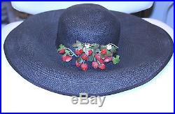 Vintage GEORGE ZAMAU'L New York Navy Blue Straw Wide Brim Strawberry CLUSTER