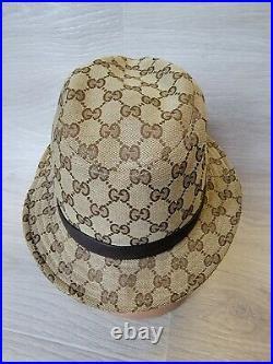 Vintage Gucci Bucket Hat Brown Leather Stripe Monogram Beige Women S Logo GG