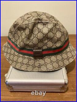 Vintage Gucci Bucket Hat Web Stripe GG Monogram Sz L Women Leather Logo