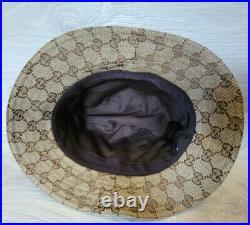 Vintage Gucci Bucket Hat Web Stripe Monogram Beige Sz M Women S Men Leather Logo