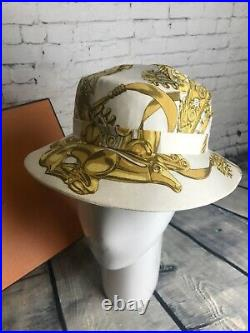Vintage HERMES Silk RYBAL Summer Bucket Sun Hat Small Cream Silk Gold