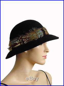 Vintage Halston Hat Black Wool with Brim Feathers 1970s Boho Hippie 62ceb3c782e