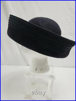 Vintage Halston Navy Blue Up-Turned Wool Brenton Hat with Ribbon
