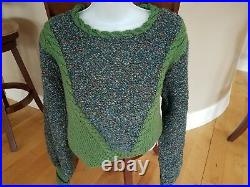 Vintage Hand Knit Sweater-Sage Green Two Tone-Sweater, Leggings & French Hat Set