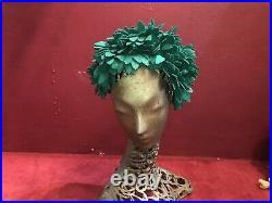Vintage Hat 1950S 1960S Felt Green Turban Gross Keys