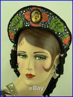 Vintage Hat Beautiful Medieval Wedding Head Dress, Tasselled Snood Kokoshnik