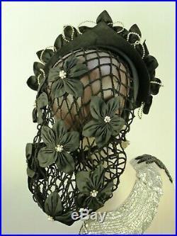 Vintage Hat Black Silk Flowers & Beads, Medieval Wedding Head Dress, Snood Tiara