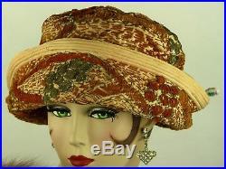 Vintage Hat Edwardian 1906 Bicorn Cloche Toque In Rust, Cream & Silver Chenille