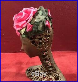 Vintage Hat Fascinator Rose Pink Hat Pillbox Vintage Tilt 50s 60s Green Flower