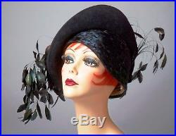 Vintage Hat Jack Mcconnell, Black Cloche, Asymmetric Brim With Trailing Feathers