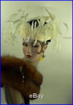 Vintage Hat Jack Mcconnell Original, The White Swan, Superb & Rare, Statment Hat