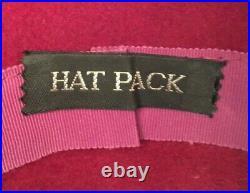 Vintage Hat Pack France Womens Wide Brim Elegant Floppy Hat One Size Red Velvet