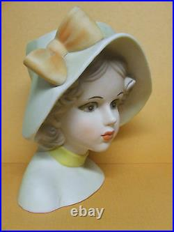 Vintage Inarco Teen Girl withLarge Hat & Bow Lady Head Vase (#E6212, Japan)