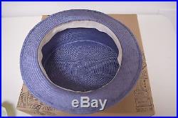 Vintage J Peterman Lilac Straw Downton Garden Party Ladies Hat & Original Box