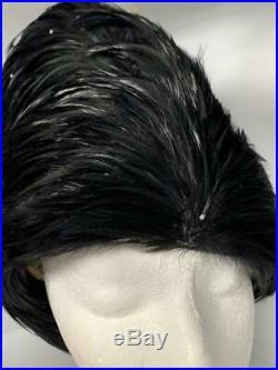 Vintage JACK McConnell Black FEATHER & Rhinestone Hat