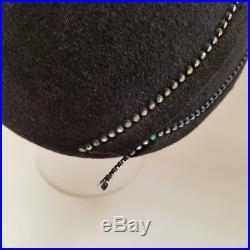 Vintage Jack McConnell Boutique Black Wool Hat Rhinestones Bow