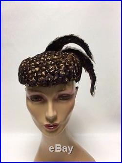 Vintage Jack McConnell Exotic Brown Feather Hat One of a Kind Red Feather Label