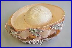 Vintage Jack McConnell Pink Iridescent Jewel Straw Flower Petal Church Derby Hat