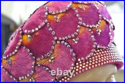 Vintage Jack McConnell Pink Sunset Flower Petal Studded Church Derby Hat Crown