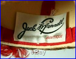 Vintage Jack McConnell Red & Brown Pheasant Feather Pillbox Church Fancy Hat