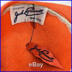 Vintage Jack McConnell Red Feather Floral Rhinestones Sherbet Orange Formed Hat