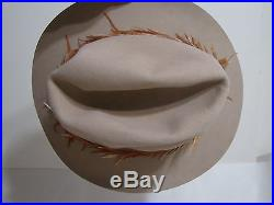 Vintage John Stetson XXXX 4X Beaver Beige Western Hat With Real Feathers & Stone