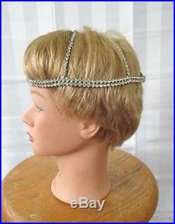 Vintage Juliet Cap Rhinestones 1920s Art Deco Flapper Style Bride Headpiece