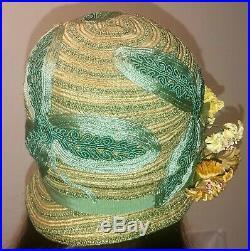 Vintage LADY SUPREME USA Green Straw Silk Smocking Flower Leaf Trim Cloche Hat