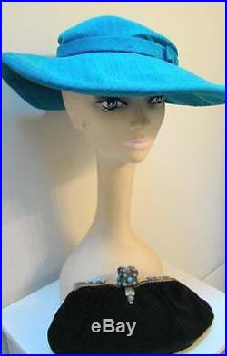 Vintage LILLY DACHE Turquoise Picture Hat