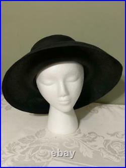 Vintage Ladies Christian Dior Black Rim Hat Chapeaux