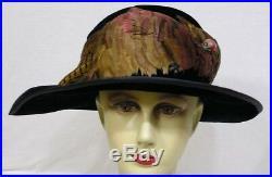 Vintage Ladies Hat 1910s Black Velvet Colorful Feathers Asymmetrical NICE