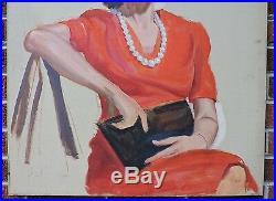Vintage Large Modernist Oil Portrait WOMAN in RED DRESS & Hat Painting c1944 ART