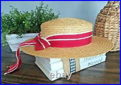 Vintage Laura Ashley Cottagecore Summer Boater Victorian Straw Hat Red Bow