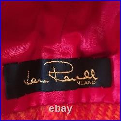 Vintage Lena Rewell Wool and Silk Handmade Hood Finland Red Pink Orange NICE