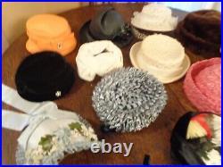 Vintage Lot 14 Women's Hats Headbands 40/s/50s/60s Feather Fur Mesh Flowered