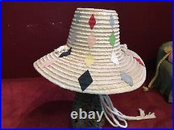 Vintage Made In Italy Straw Raffia Harlequin Beach Hat 40s 50s