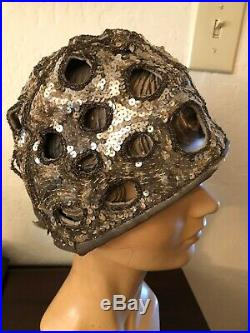 Vintage Original 1920s Silver Sequin And Metallic Cloche Hat