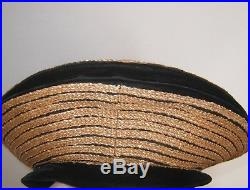 Vintage Original Christian Dior Designer Licence Chapeaux Black Velour Straw Hat