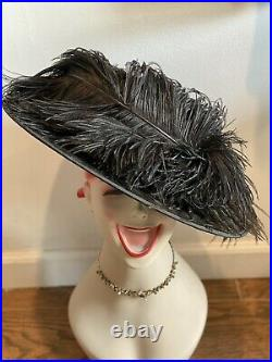 Vintage Ostrich Plumes Feather Hat Womens Black Velvet Wide Brim Derby
